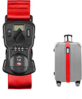 TSA Approved Luggage Straps Suitcase Belts, Baggage Straps Electronic Scale Password Lock-Available in 3 colors(Red)