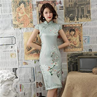 New Double-layer Embroidered Cheongsam, Chinese Style Peach Blossom Eight-button Lace Cheongsam, Medium And Long Silk Cheo...