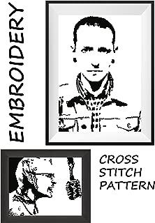 Chester Bennington LP Linkin Park rock band Handmade embroidery wall cross stitch portrait of music legend Monochrome black & white pattern made present for friend birthday Do it yourself presents