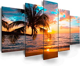 """Abstract Ocean Printed Landscape - EPHANY Art - 5 Pieces Canvas Wall Art Sunset On Ocean,ocean beach picture,nature landscape (C-5pcs,40""""x20"""")"""