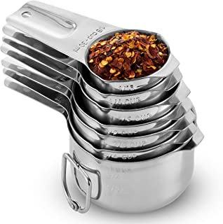 [7-Piece] Stainless Steel Measuring Cups - Made of 1 Solid Piece 18/8 Stainless Steel, Engraved Measurements, Dual Pour Spouts, Nesting Measuring Cup Set for Dry, Liquid Ingredients, Cooking & Baking
