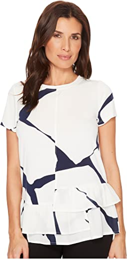 Cap Sleeve Printed Blouse w/ Tiered Ruffle Hem
