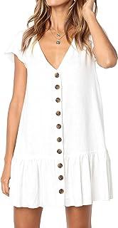 Huiyuzhi Womens V Neck Button Down Shirt Dresses Long Sleeve Ruffles Midi Skater Dress with Pockets