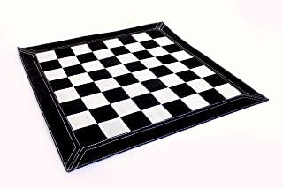 "StonKraft Big Size 19"" x 19"" Genuine Leather Chess Board - | Roll-up Tournament Chess | Tournament Roll- up Chess (Black S..."