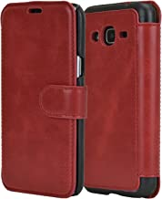 MULBESS Samsung J3 2016 Case - PU Leather Flip Case Cover with Wallet for Samsung Galaxy J3 J320F [5.0 Inch] 2016 Model,Wine Red