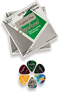 Electric Guitar Strings Beginner to Pro Level Nano-Coated (2 Sets) Nickel Alloy w/ 6 Guitar Picks (Normal Light 10-46) Coated