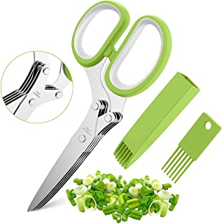 Herb Scissors Set with 5 Blades and Cover - Multipurpose Kitchen Chopping Shear, Mincer, Sharp Dishwasher Safe Kitchen Gad...