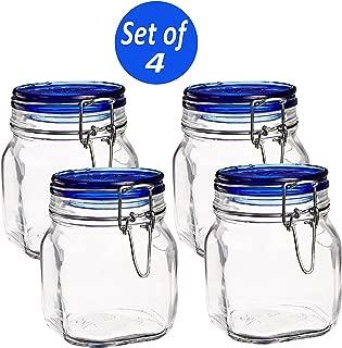 Bormioli Rocco Fido Square Jar with Blue Lid, 25-1/4-Ounce (Set of 4)
