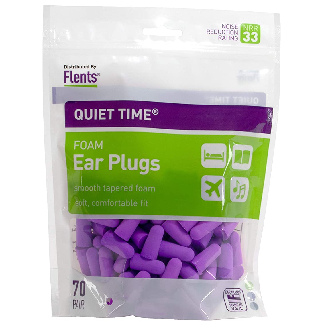 Flents Quiet Time Ear Plugs/Earplugs | 70 Pair Bonus Pack | NRR 33