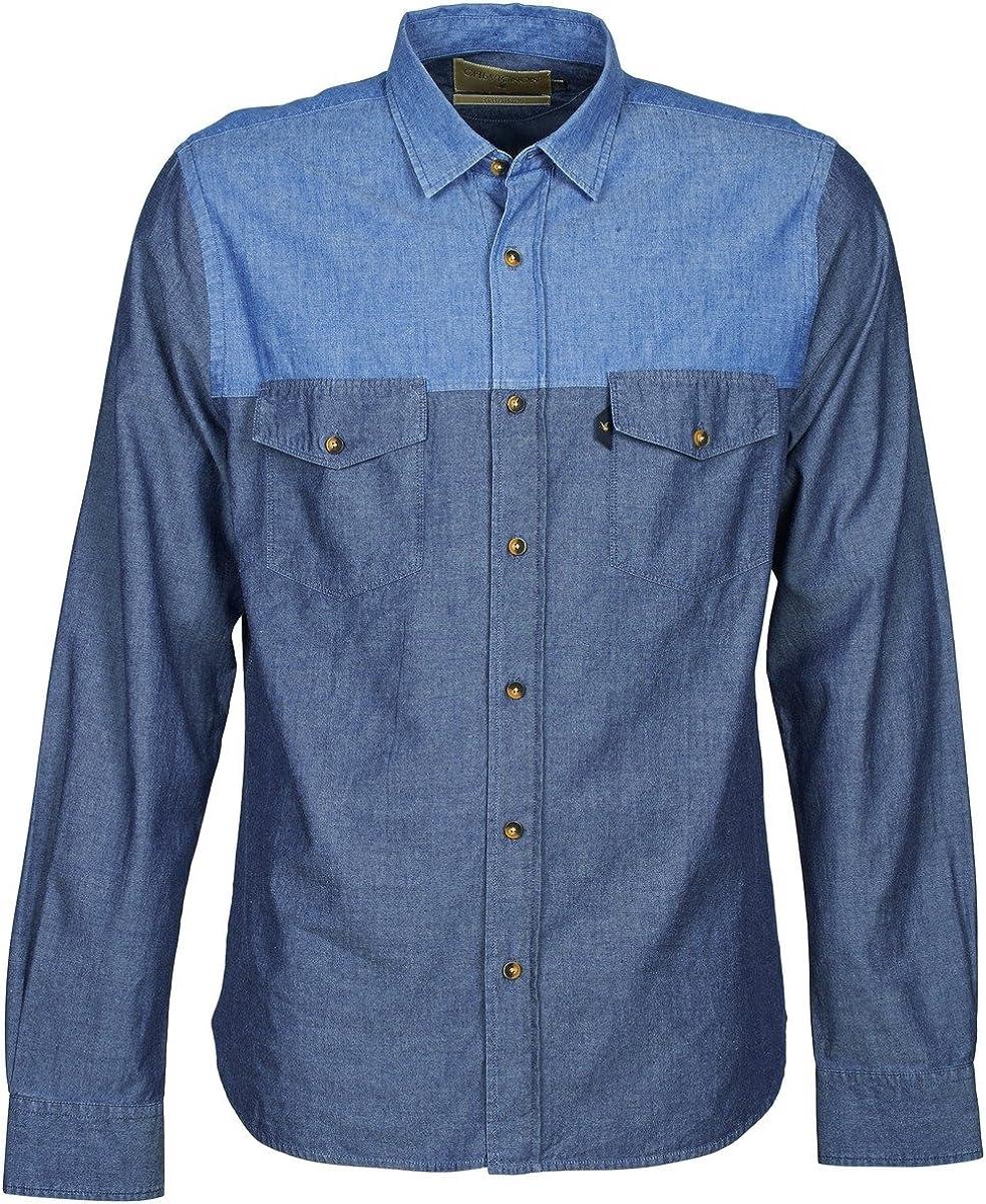 CHEVIGNON CL Tinto Camisas Hombres Azul - S - Camisas Manga ...