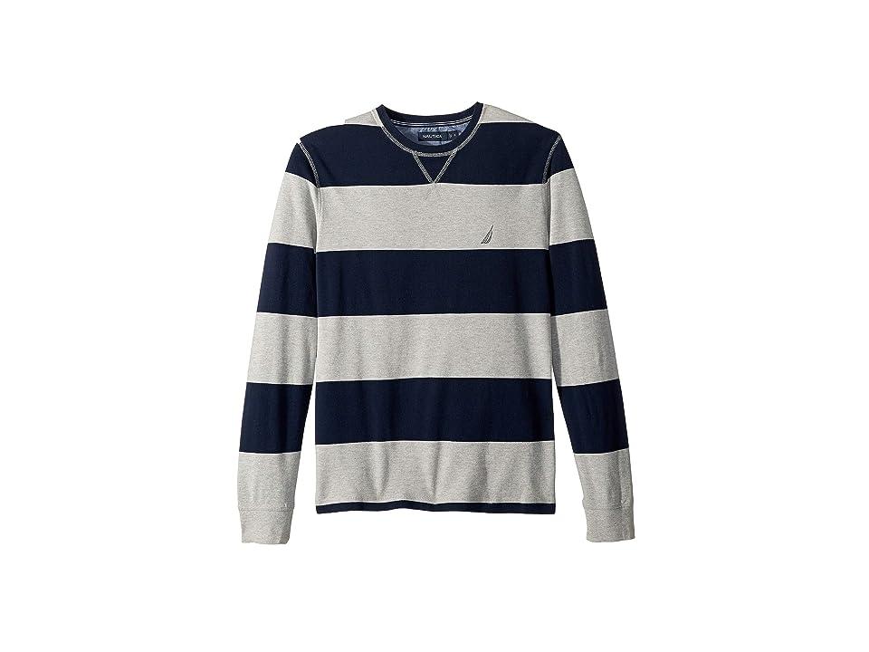 Nautica Long Sleeve Rugby Stripe Sweater (Grey Heather) Men