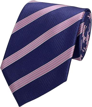 Fabio Farini - Elegante corbata de hombre a rayas de 6 y 8 cm de ancho 8 cm Púrpura, rosa, blanco