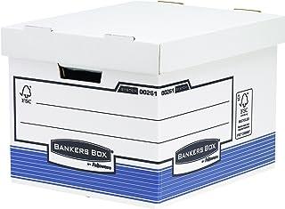 Fellowes 0026101 Caisse standard pour archives Banker Box System - Montage automatique Blanc/Bleu (Lot de 10)