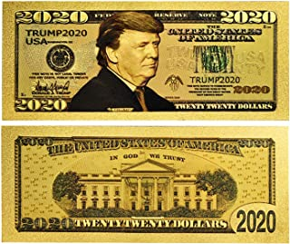 American Art Classics Donald Trump 2020 24kt Gold Plated Commemorative Re-Election Presidential Dollar Bill Bank Note Collectors Item - Limited Edition - Comes in Protector