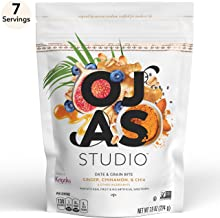 OJAS STUDIO Date & Grain Energy Bites, Ginger Cinnamon & Chia, 7-serving resealable bag, 7.9oz, non-GMO, no artificial sweeteners