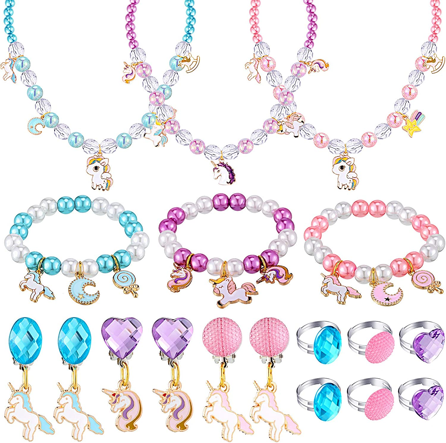 18 Pieces Unicorn Super beauty product restock quality shopping top Jewelry Set Girls Beaded Cut Necklaces