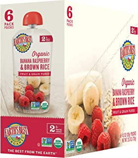 Earth's Best Organic Stage 2 Baby Food, Banana Raspberry & Brown Rice, 4.2 Oz Pouch (Pack of 12)