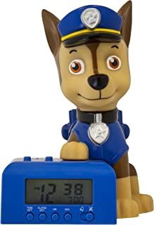 BulbBotz Paw Patrol 2021302 Chase Kids Night Light Alarm Clock with Characterized Sound | Blue/Brown | Plastic | 5.5 inches Tall | LCD Display | boy Girl | Official
