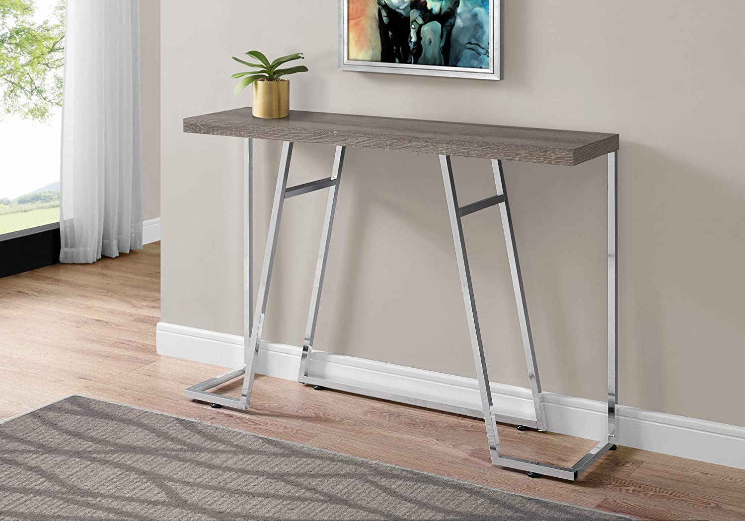 Monarch Specialties i 3169 Accent Table 48  l Dark Taupe and Chrome Metal