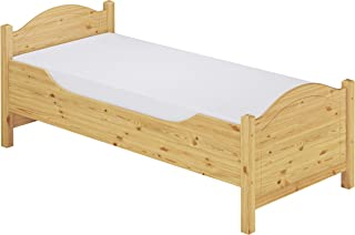 Erst-Holz Lit Simple Extra Haut pin Massif 90x200, lit pour des Personnes âgées, avec literie 60.40-09M