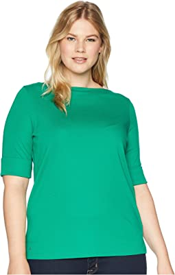 Plus Size Stretch Jersey Elbow-Sleeve Top