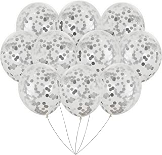 Jumbo Silver Foil Confetti Balloons   Vibrant Confetti Pre-Filled   Wedding Engagement Birthday Party Events (16 Pack Silver, 18 Inches)