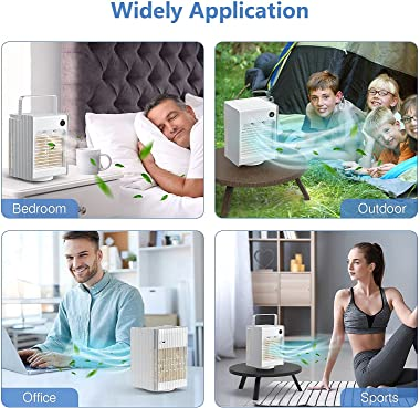 Portable AC Air Conditioner for Room, Box Cooler Fan with 3 Speed for Bedroom, 4000mAh Cordless Rechargeable 120° Oscillating