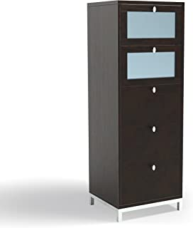 ioHOMES Keller Modern 5 Drawers, Tempered Glass Storage Chest, Cappuccino