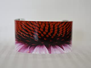Aluminum cuff bracelet with photography, photo of Cone flower,Metallic finish on a beautiful sublimation cuff for wearable art