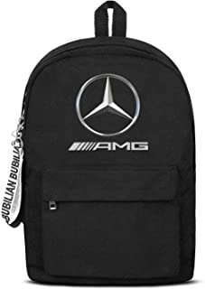 Heart Wolf Mercedes-Benz-Logo- Women Men Water Resistant Black Canvas School Backpack Travel Backpack