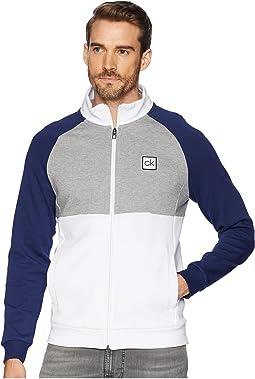 Color Block Mock Neck Full Zip Sweater