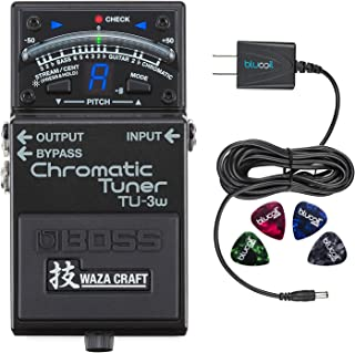 Boss TU-3W Waza Craft Chromatic Tuner Bundle with Blucoil Slim 9V 670ma Power Supply AC Adapter and 4-Pack of Celluloid Guitar Picks