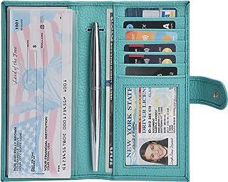Leather Checkbook Cover Holder for Men and Women- Duplicate Checks RFID Card Standard Register Mens Wallet