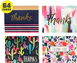 Thank you cards - Gold Foil Decorative embossed lettering - 64 count bulk (4 designs, 16 of each) with envelopes - Greeting card assortment great for wedding, Bridal & baby shower & birthday