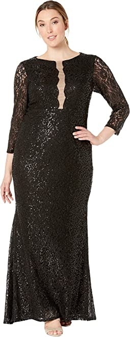 8c8714266edd0 MARINA. Plus Size Long Sleeve Glitter Sequin Stretch Lace Dress.  $24.99MSRP: $139.00. Black