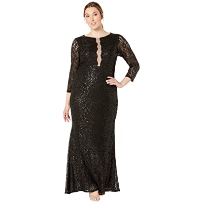 MARINA Plus Size 3/4 Sleeve Stretch Sequin Lace Gown with Illusion Center Front (Black) Women