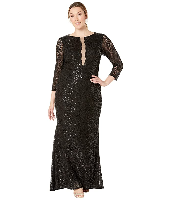 MARINA Plus Size 3/4 Sleeve Stretch Sequin Lace Gown with ...