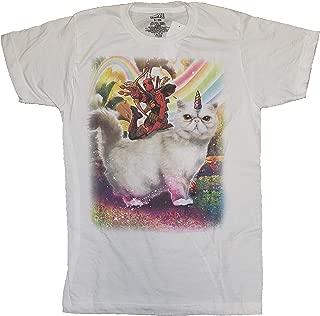 Comics Deadpool Riding Unicorn Cat White Graphic T-Shirt