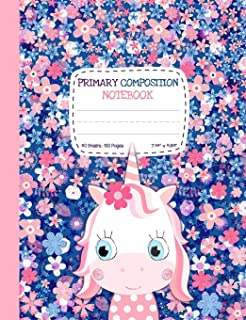 Primary Composition Notebook: Cute Unicorn Half Ruled Half Blank Draw and Write Journal for Girls - Picture Space for Drawing, Primary Ruled Lines for Creative Story Writing, Dotted Midline