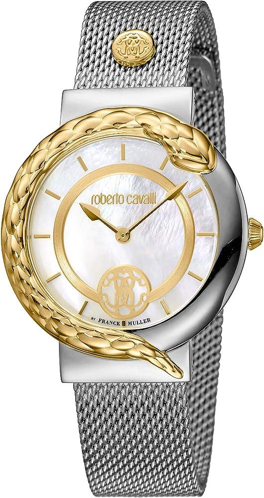 Roberto cavalli by franck muller, orologio elegante per donna,in acciaio inossidabile RV1L088M0116