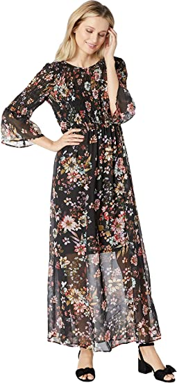 3/4 Sleeve Floral Smocked Bodice Maxi Dress
