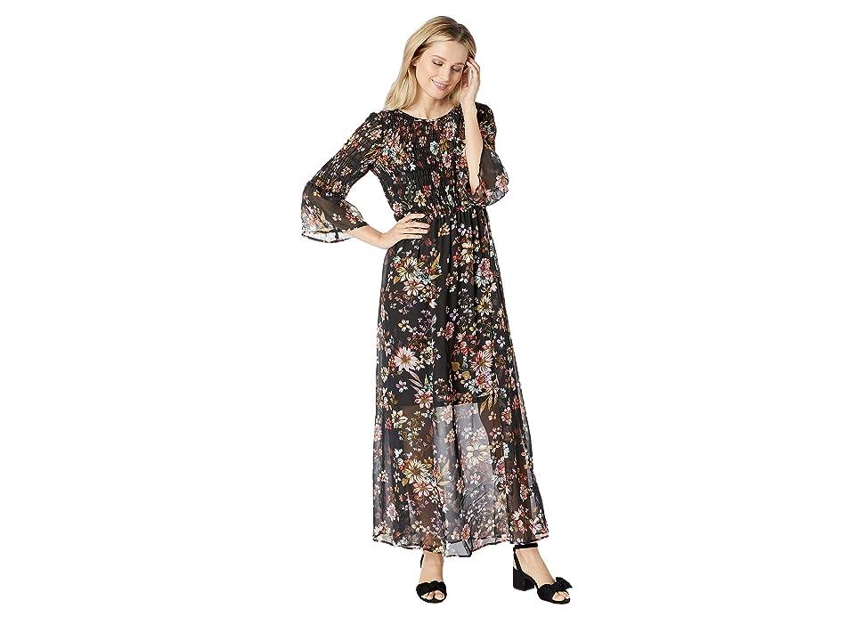 eci 3/4 Sleeve Floral Smocked Bodice Maxi Dress (Black/Multi) Women