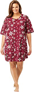 Dreams & Co. Women's Plus Size Short Sleeve French Terry Robe