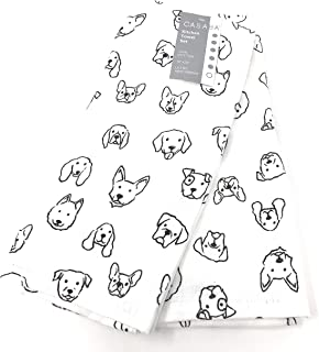 Set of 2 Decorative Ultra Absorbent Kitchen Towels Assorted Dogs Outlined   Black/white   100% Cotton 18