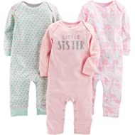 Baby Girls' 3-Pack Jumpsuits
