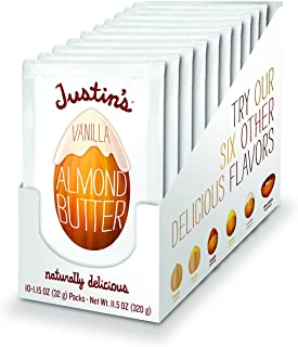 Justin's Vanilla Almond Butter Squeeze Packs, Gluten-free, Responsibly Sourced, Pack of 10 (1.15oz each)