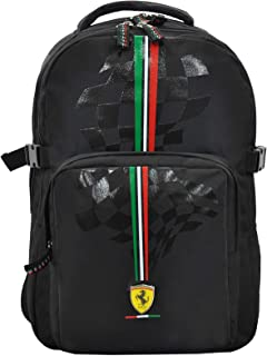FERRARI SILVER HORSE BLACK BACKPACK 17""