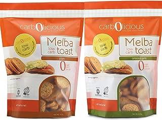 Low Carb Melba Toast I Keto Friendly I 1 Net Carb Per Serving I Variety (2) Pack 4oz each (1 Plain, 1 Onion & Garlic)