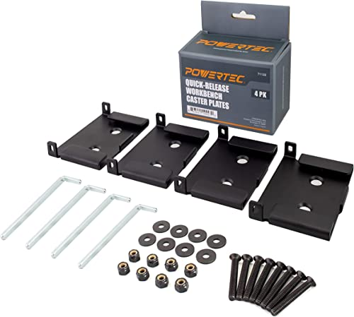 POWERTEC Quick-Release Workbench Caster Plates, 71132