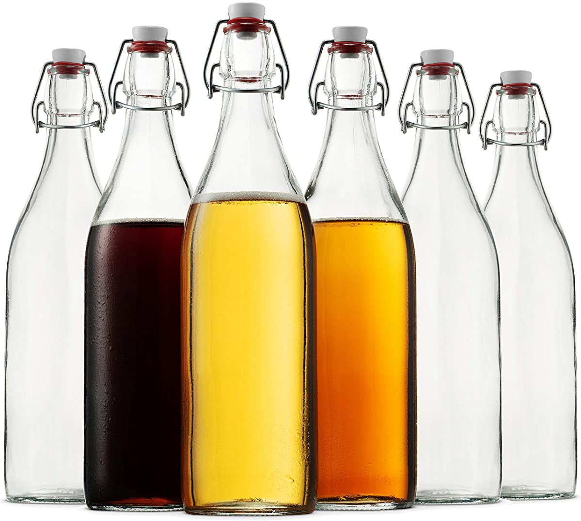 Bormioli Rocco Giara ROUND Clear Glass Bottle With Stopper Swing Top Bottles Great for Beverages, Oil, Vinegar | 33 3/4 oz (Set of 6)